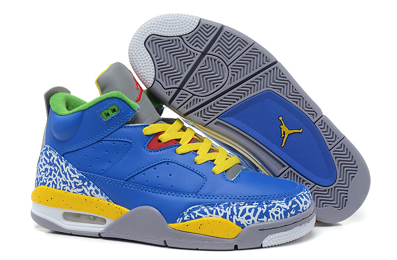 New Arrival Air Jordan Spizike Blue Yellow Grey Cement Shoes