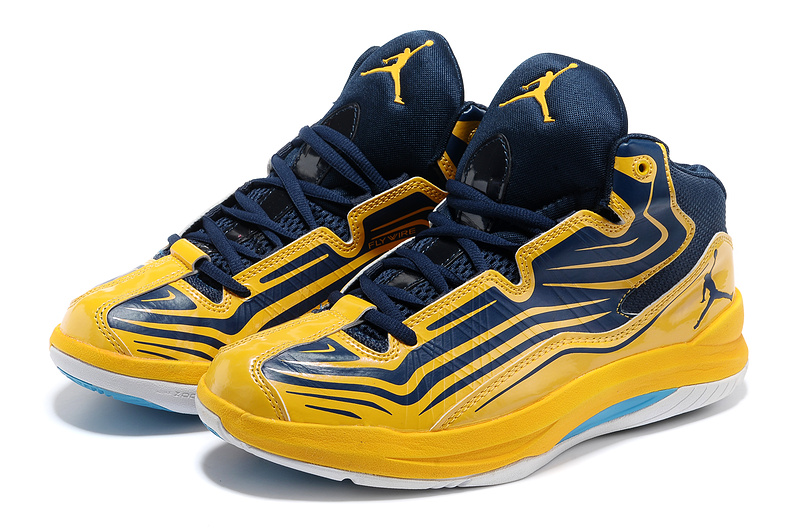 2013 Air Jordan Vintage Blue Yellow Shoes