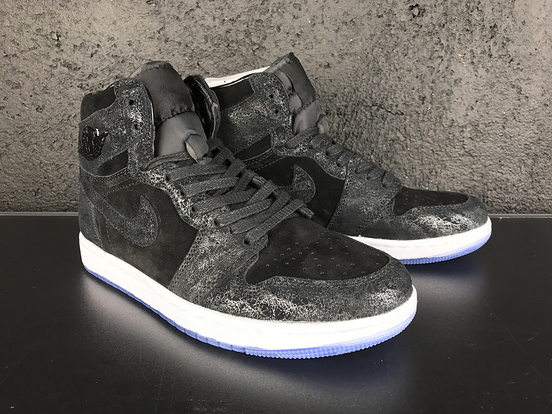 New Air Jordan 1 Retro Velvet Black White Shoes