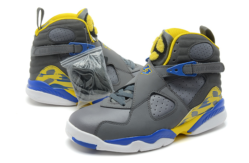2013 Air jordan 8 Grey White Blue Yellow Shoes