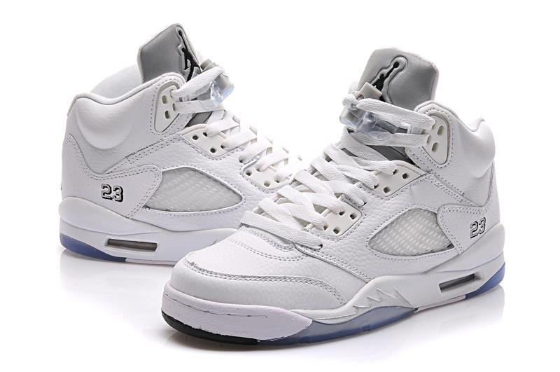 New All White Jordan 5 Shoes For Women
