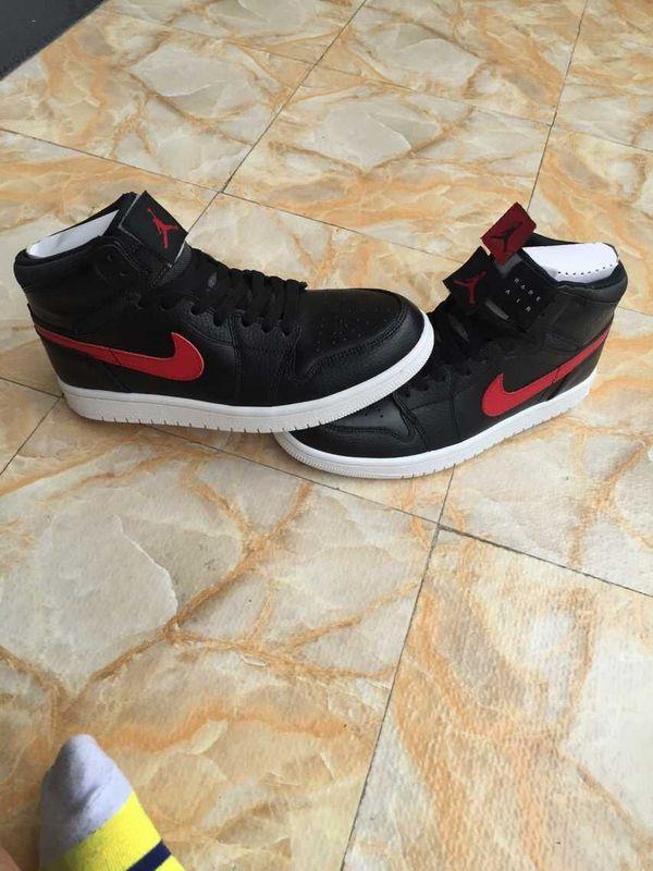 New Jordan 1 Retro Black Red Swoosh Logo Shoes
