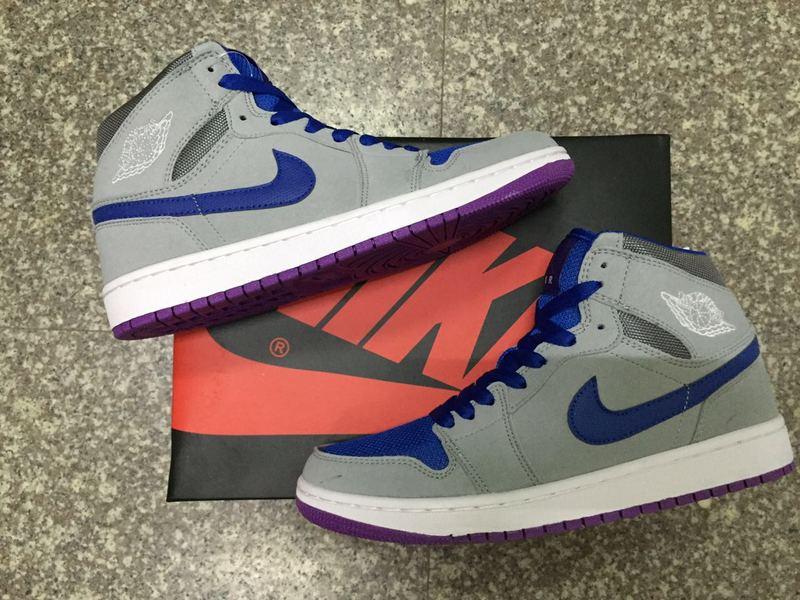 New Jordan 1 Retro Grey Blue Purple Shoes