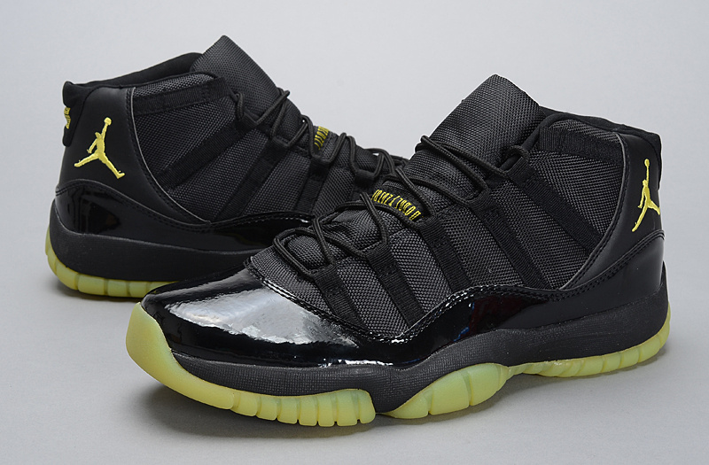 New Jordan 11 Retro Black Yellow Shoes