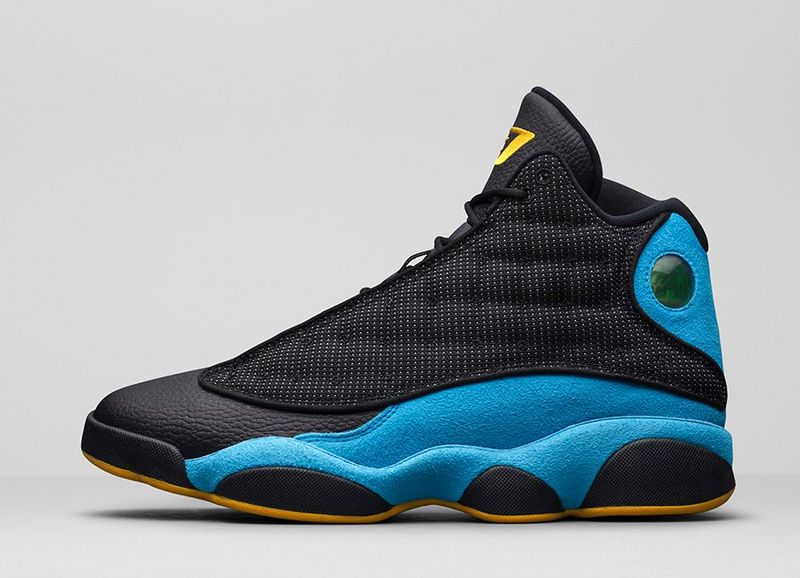 New Jordan 13 Retro Black Blue Yellow Shoes
