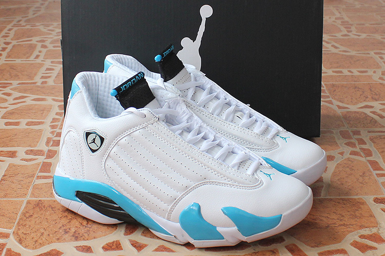 New Original Jordan 14 Retro White Baby Blue Shoes