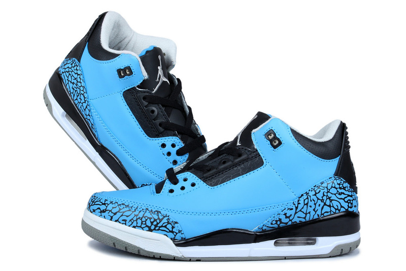 New Arrival Jordan 3 Retr Blue Moon Black Shoes