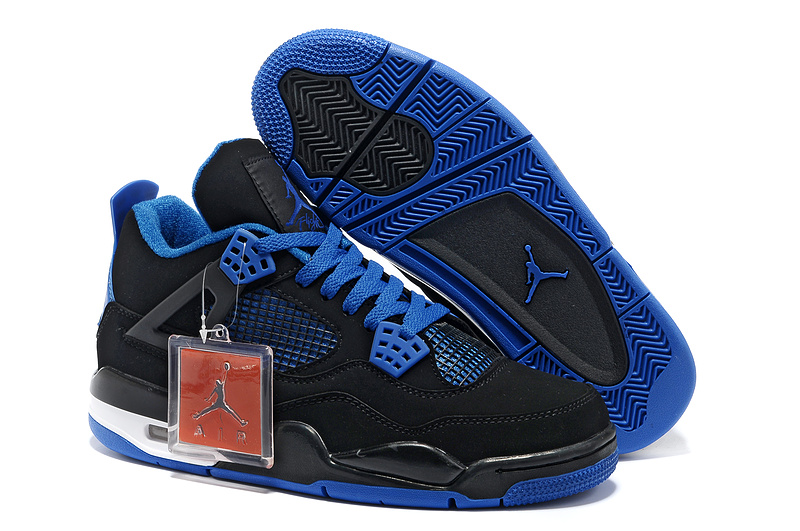 2013 Air Jordan 4 Black Blue Shoes