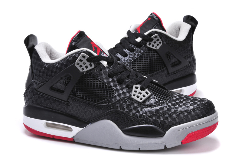 2013 Air Jordan 4 Black Grey Red Shoes