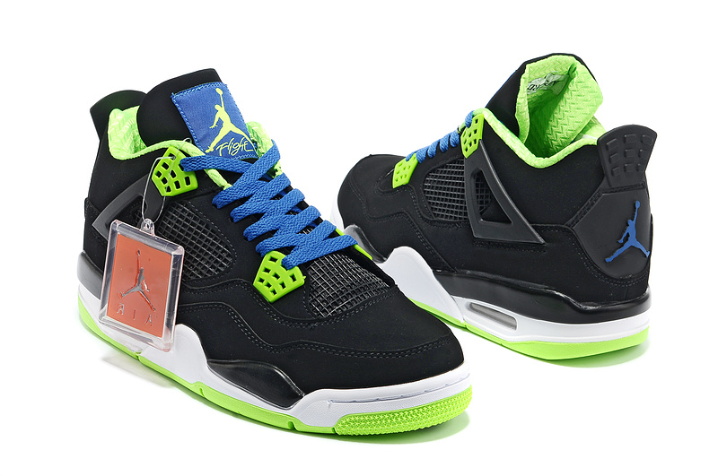 2013 Air Jordan 4 Black White Green Shoes