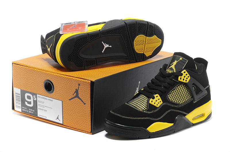 2013 Air Jordan 4 Black Yellow Shoes