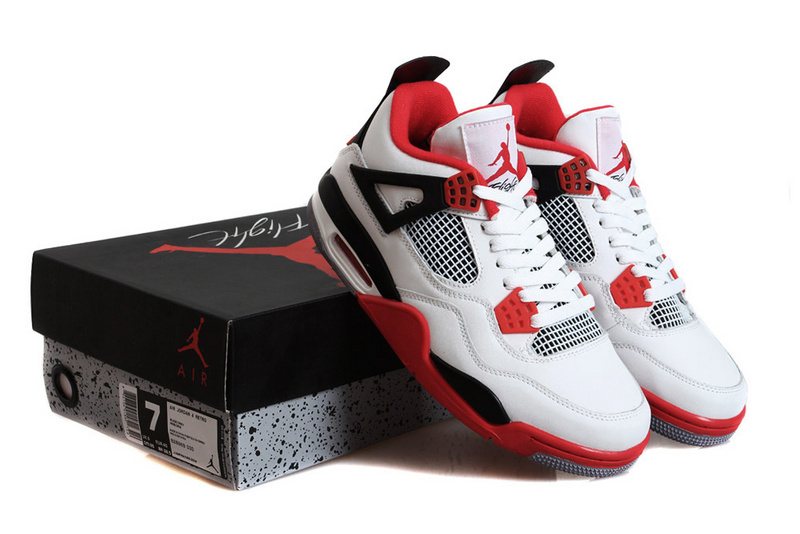 New Jordan 4 Fire Red White Black Shoes
