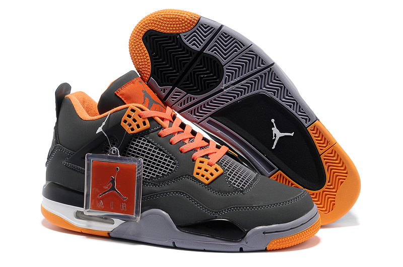 2013 Air Jordan 4 Grey Orange Shoes