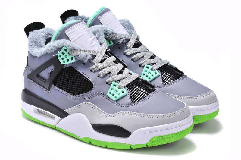 New Arrival Jordan 4 Retr Grey Black Green with Wool
