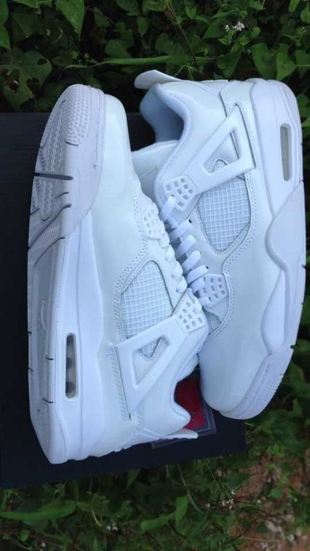 New Jordan 4 Retro All White Shoes