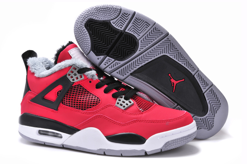 New Arrival Jordan 4 Retro Red Black White Grey with Wool