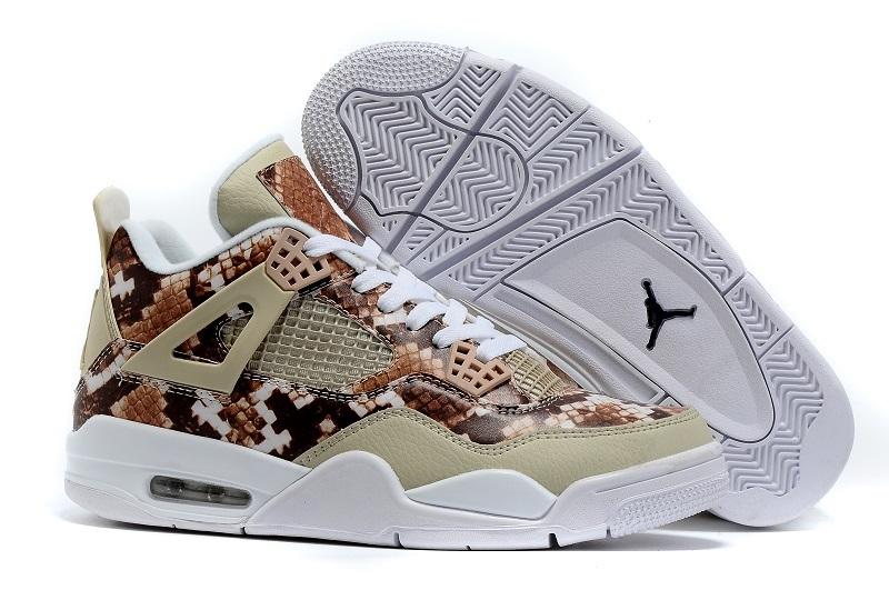 New Jordan 4 Retro Snake Skin White Coffe Shoes
