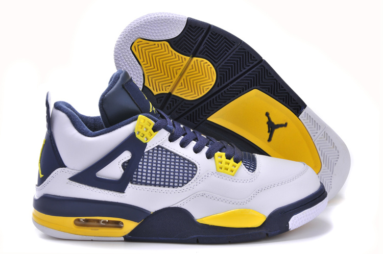 New Arrival Jordan 4 Retro White Black Yellow Shoes