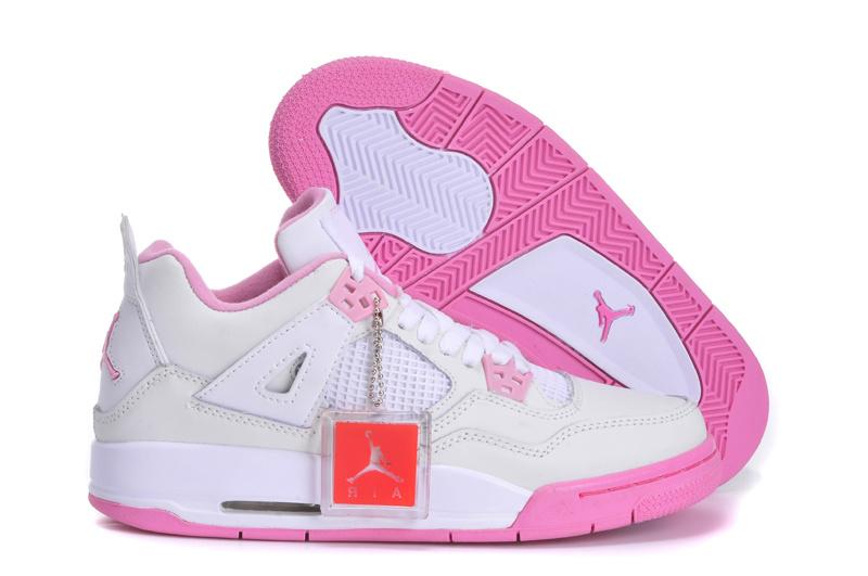 New Arrival Jordan 4 White Pink Shoes For Women