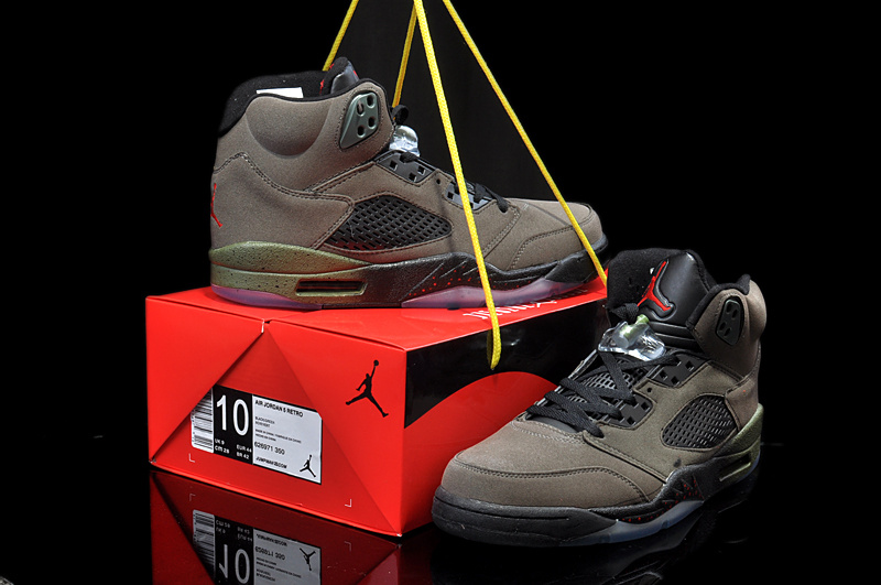 New Arrival Jordan 5 Hardback Edition Army Black Shoes
