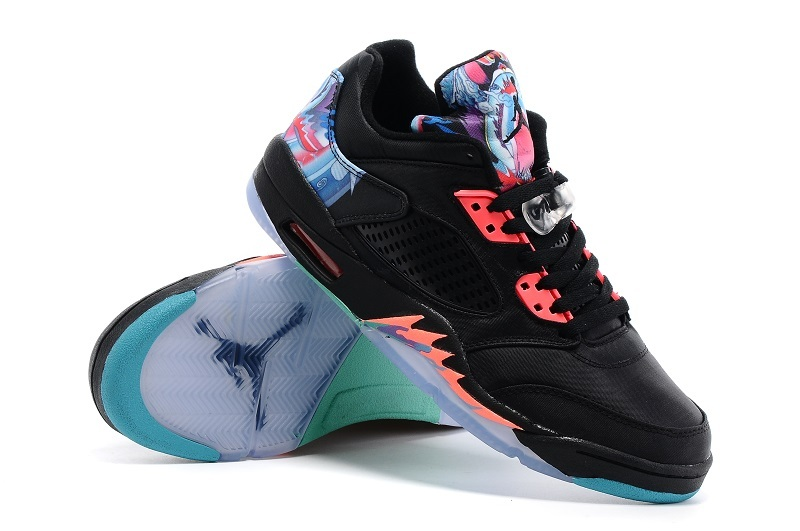 New Jordan 5 Low Black Redish Orange Shoes