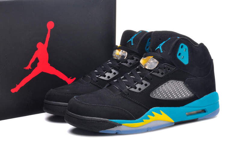New Jordan 5 Retro Gamma Blue Black Yellow Shoes