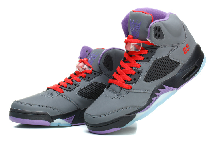 New Jordan 5 Retro Grey Black Purple Shoes