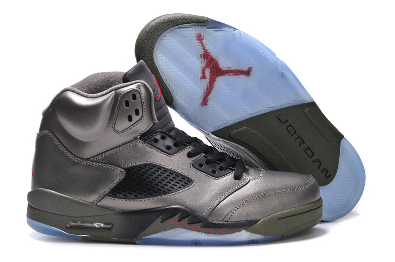 New Arrival Jordan 5 Retro Grey Black Shoes