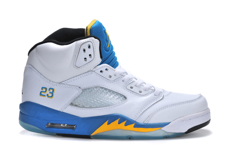 New Arrival Jordan 5 Retro White Bue Yellow Shoes