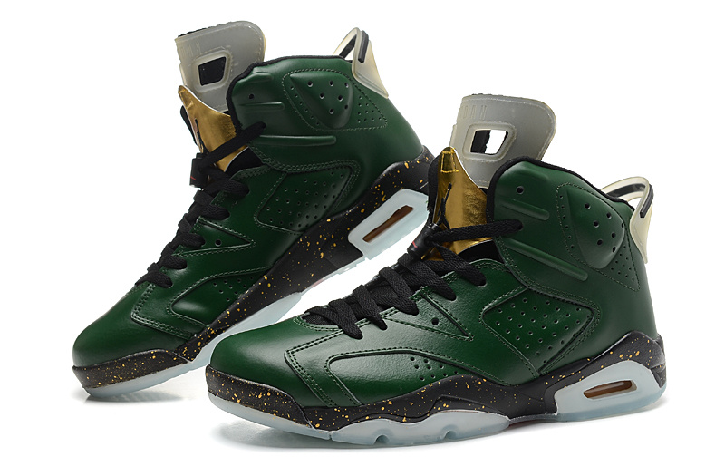 New Jordan 6 Retro Green Black Shoes