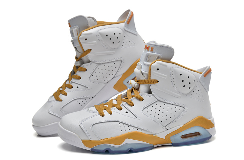 New Jordan 6 Retro White Yellow Shoes