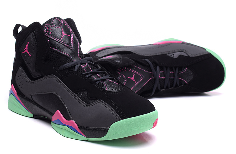 New Jordan 7 Black Pink Green Shoes For Women