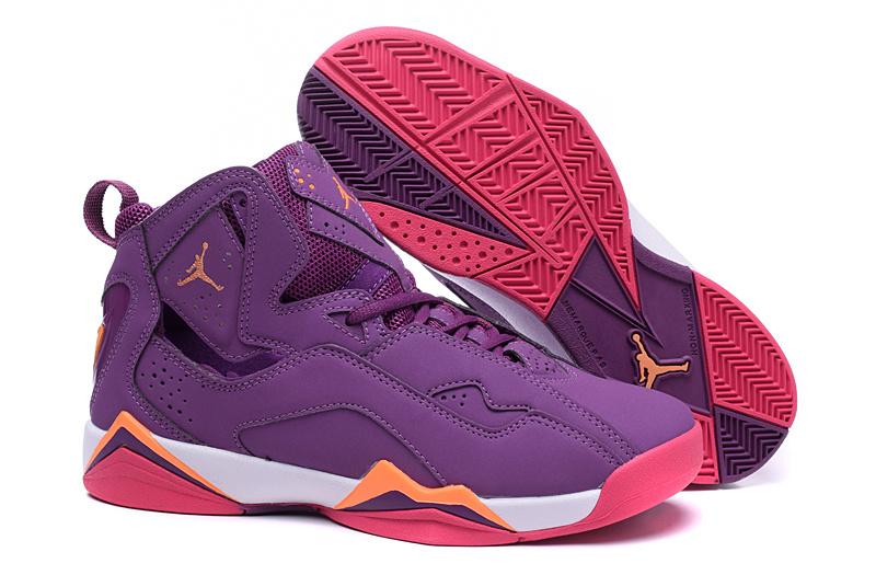 New Jordan 7 Purple Red Orange Shoes For Women