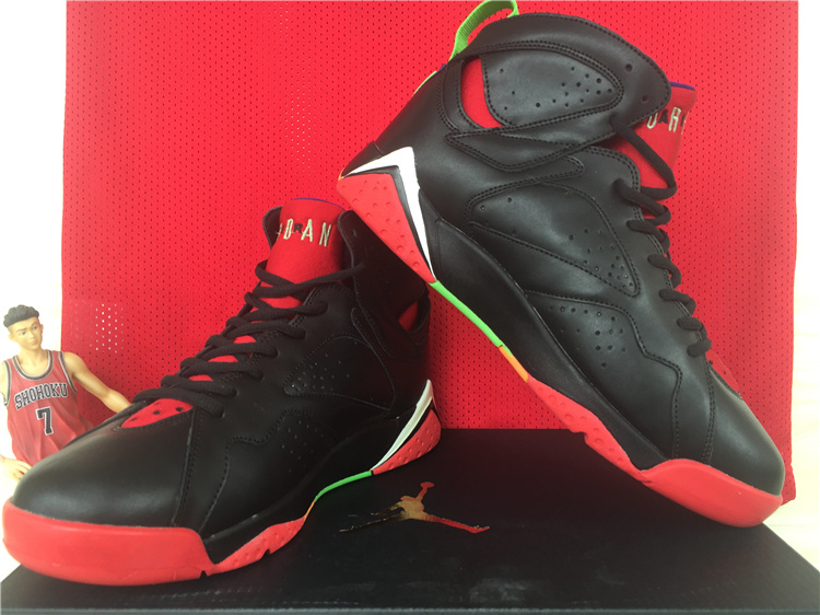 New Jordan 7 Retro Black Red Green