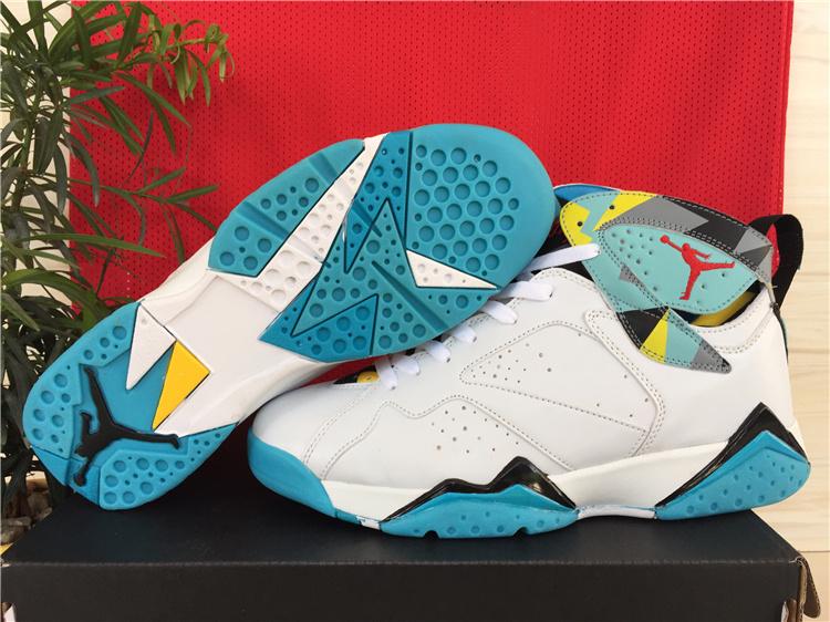 New Jordan 7 Shoes White Green Yellow