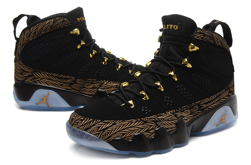 New Jordan 9 Retro Black Gold 17 Number On Back