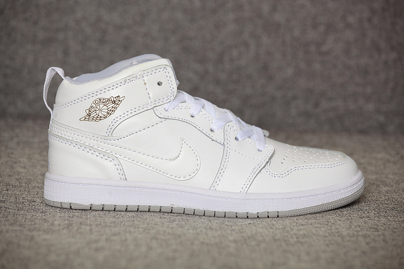 New Kids Air Jordan 1 All White Shoes