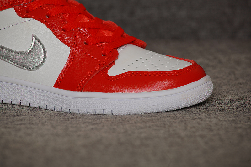 New Kids Air Jordan 1 Red White Silver Shoes