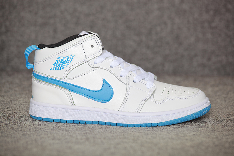New Kids Air Jordan 1 White Light Blue Shoes