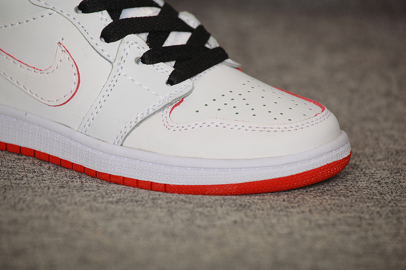 New Kids Air Jordan 1 White Red Shoes