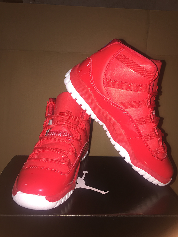 New Kids Air Jordan 11 Red White Shoes