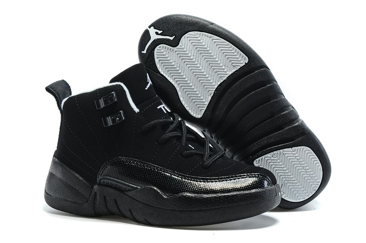 New Kids Air Jordan 12 All Black Shoes