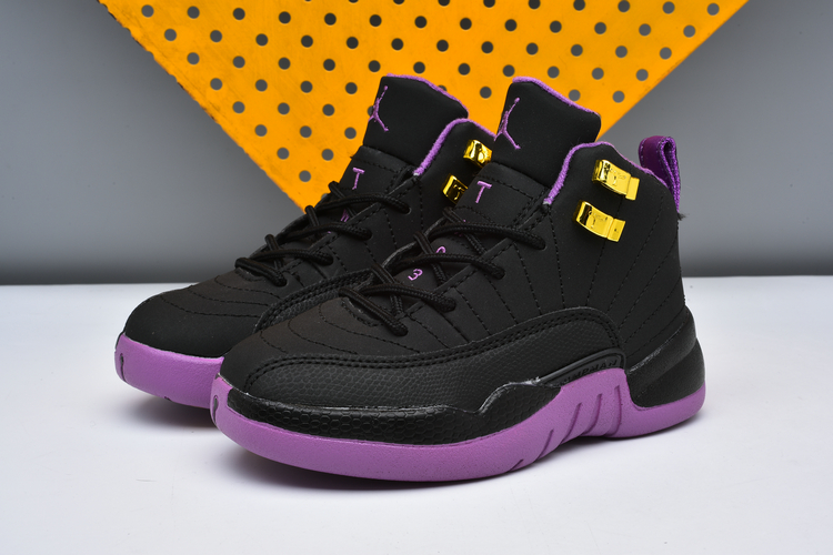 New Kids Air Jordan 12 Black Purple Shoes