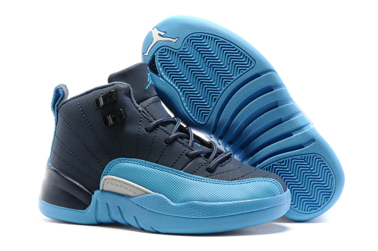 New Kids Air Jordan 12 Blue Shoes