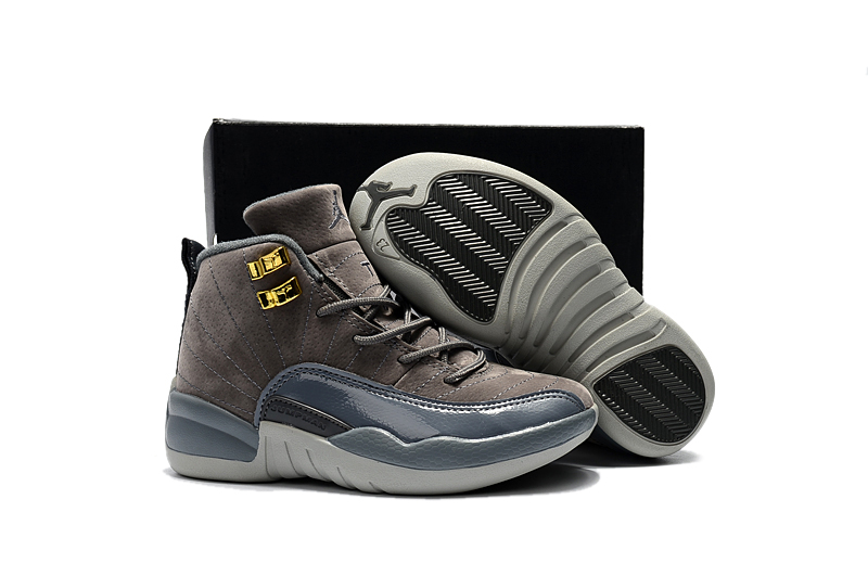 New Kids Air Jordan 12 Dark Grey Gold Shoes