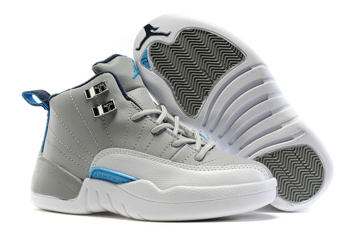New Kids Air Jordan 12 Grey White Blue Shoes