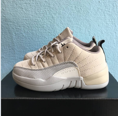 New Kids Air Jordan 12 Low Beige Grey Shoes