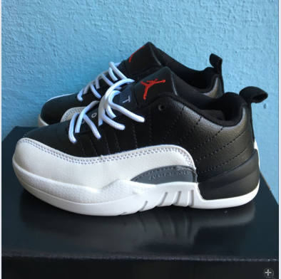 New Kids Air Jordan 12 Low Black White Red Shoes