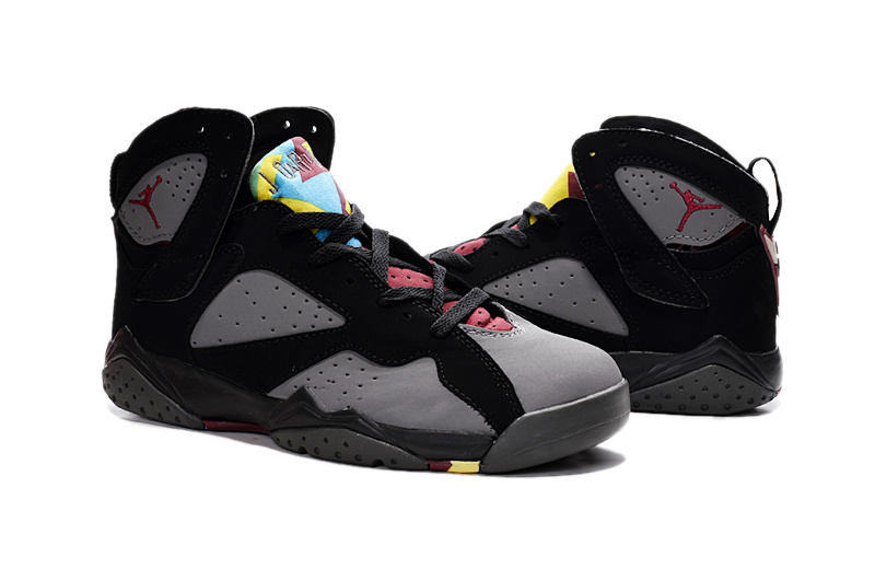 New Air Jordan 7 Retro Grey Black Red Shoes For Women