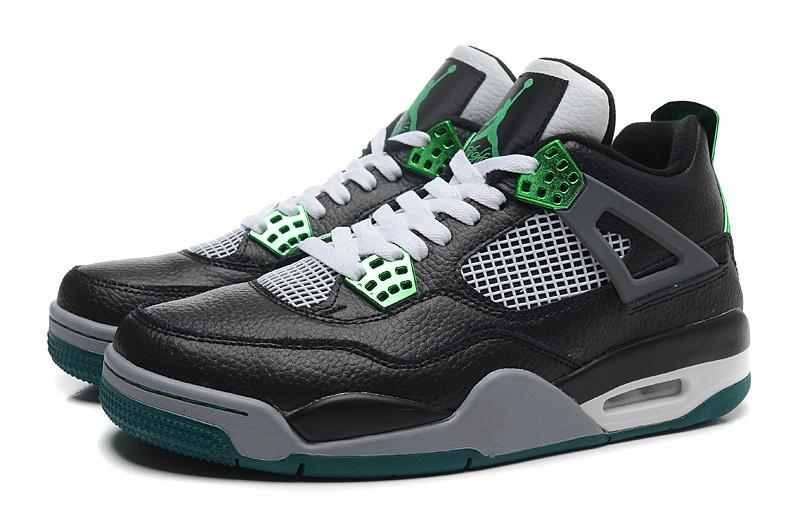 New Retro Jordan 4 Oregon Duck Black White Green Shoes